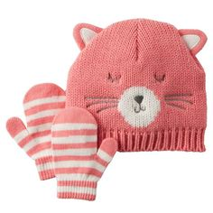 Carter's Pink Kitty Cat Toddler Beanie Cable Knit Hat Striped Mittens Set 0-9M. Cable knit. Ribbed cuffs. Embroidered kitty cat. 3D ears. Striped mittens. For toddler sizes 0-9 Months. 100% Acrylic.