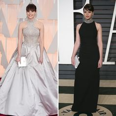 Oscar outfit changes: Red carpet vs. after-party looks: Felicity Jones in Alexander McQueen (L) and Saint Laurent (R). Photo © Getty