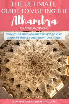 Everything You Need To Know About Visiting The Alhambra in Granada, Spain · Use this ultimate guide to visiting the Alhambra to plan an amazing trip to Granada, Spain. Discover why you will need advance tickets, and learn how to book them! The Alhambra is Spain's #1 tourist attraction, and is absolutely worth a visit if you are planning to travel to Spain.