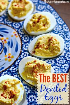 The BEST EVER Deviled Eggs - SERIOUSLY! I hesitated on sharing this recipe for forever because I thought everyone would be like - 'another deviled egg recipe? really?'. But I make these ALL THE TIME for over a decade, & it just seemed wrong to not share this family favorite with y'all. - MrsHappyHomemaker.com