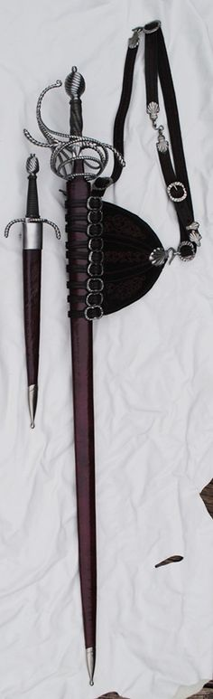 Full length shot of sword in scabbard with hanger