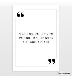 True Courage - Quote Print - A4 - (210mm x 297mm) (8.3inch x 11.7inch)