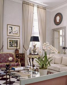 The ground floor sitting room of Juan Pablo Molyneux's Paris residence.  This room leads out into the garden.