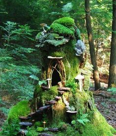 What if normal houses and buildings were completely covered with moss or ivy and vines?