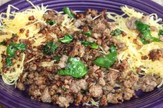 $10 Healthy Meal for family of 4! #WalmartGiving #NoKidHungry Spaghetti Squash, Sweet Italian Sausage, Fresh Spinach, Parm Cheese & spices! YUM!