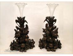 Sculptures en Bois Black Forest, Vase Cornets Cristal 19e - Antiques de Laval