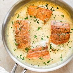 This salmon in a creamy Dijon mustard sauce is a simple comfort food dinner! Thi… This salmon in a creamy Dijon mustard sauce is a simple comfort food dinner! This recipe can be made with either white wine or chicken broth. Mustard Sauce For Salmon, Dijon Mustard Sauce, Dijon Salmon, Creamy Mustard Sauce, Mustard Recipe, Butter Salmon, Salmon Sauce, Salmon With White Sauce Recipe, Cream Sauce For Salmon