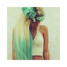 40 Chicks With Cool Mint Dyed Hair ❤ liked on Polyvore featuring accessories