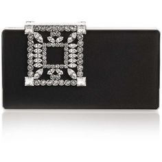 Manolo Blahnik Laka Satin Black Clutch ($1,635) ❤ liked on Polyvore featuring bags, handbags, clutches, manolo blahnik, satin clutches, satin handbags, square purse and satin purse