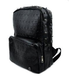 "Black Vinyl Skull Imprint Backpack. Great for school or travel. Padded for protection for your items. Outside Zipper Pocket / Inside Zipper Pocket. Measurments: 12"" X 15"" X 5"""