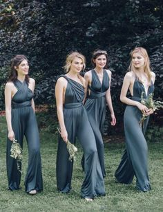 Elegant teal jumpsuit bridesmaid dresses with versatile crisscross straps for different neckline designs; Via Twobirds Bridesmaid