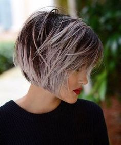 60 Short Shag Hairstyles That You Simply Can't Miss Pastel Purple Balayage Bob Purple Balayage, Balayage Bob, Purple Grey Hair, Pastel Purple, Purple Ombre, Purple Pixie, Hair A, New Hair, Hair Type