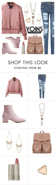 """""""YOINS - New Pink Bomber Jacket"""" by deborah-calton ❤ liked on Polyvore featuring Ilia, yoins, yoinscollection and loveyoins"""