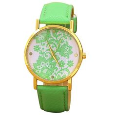 Sanwood Damen Lace Gedruckt Uhr Armbanduhr Watch (Hellgrün) - http://uhr.haus/sanwood/hellgruen-sanwood-damen-lace-gedruckt-uhr-watch