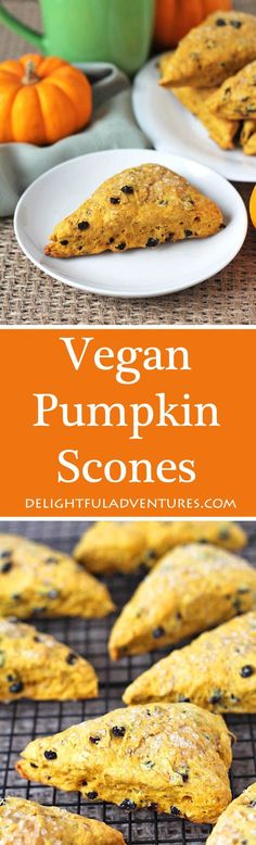 These perfectly spiced and not-too-sweet vegan pumpkin scones will become a new fall (or any time of year!) favourite. They are perfect to have with tea! #veganscones #pumpkinscones #pumpkinspice #vegantreats, #vegandessert via @delighfuladv