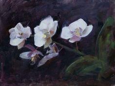 'Orchid Alla Prima', oil on canvas board, 30cm x 20cm