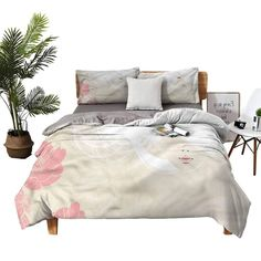 dsdsgog 3-Piece Bedding Set Flat Double XL Flowers Romance Bridal Bed Sheets King Size Deep Pocket W90 xL90 Zippered Quilt Cover and 2 Envelope Pillowcases King Size Bed Sheets, Quilt Cover, Pillowcases, 3 Piece, Comforters, Envelope, Bedding, Romance, Deep