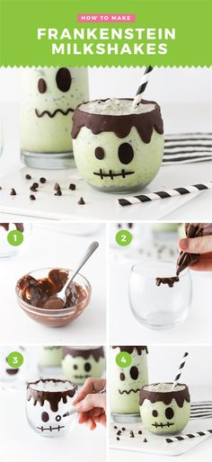How cute! If you're looking for a no-bake Halloween treat idea this year, then look no further than these Frankenstein Milkshakes! Made with mint chip ice cream and a drip-cake effect on the rim, you can truly whip these up in minutes with things you have at home. #HalloweenTreat #Frankenstein | www.DesignEatRepeat.com