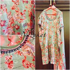 """This floral piece is pure with a combination of peach and mint is our absolute fav! This piece is highlighted with handwork! Its one of our fav combinations! Colour can be customised DM or whatsapp for details Shipping worldwide 😊 For more designs and updates you can follow us on facebook at: www.facebook.com/nazakatjal or click on the link in our """"Bio"""" #grey #pink #slate #blue  #coral #gold #golden #blingy #bling #pretty #beautiful #elegant #lovely #loveit #awesome #amazing #indian…"""