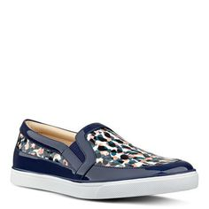 Brodie Blue Patent Leather + Patterned Slip-On Sneakers | Nine West