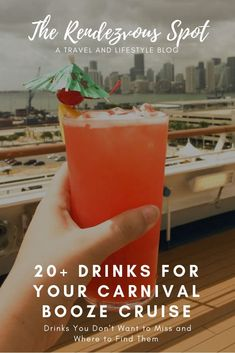 Drinks for Your Carnival Booze Cruise Get ready to party during your next Carnival cruise when you find your favorite drink among more than 20 of these beautiful, delicious cocktails. Click now to see the drinks and where YOU can find them Travel Money, Cruise Travel, Cruise Vacation, Vacations, Carnival Cruise Tips, Cruise Ship Reviews, Cruise Pictures, Destinations, Drink List