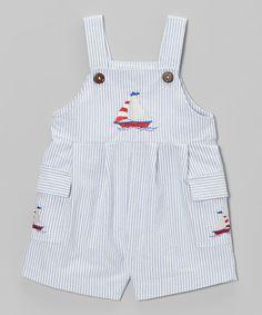 Love this Blue Stripe Sailboat Shortalls - Infant by Fantaisie Kids on #zulily! #zulilyfinds
