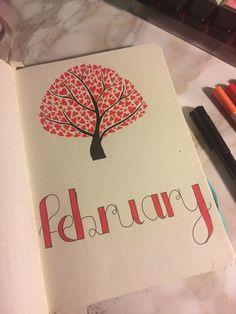 Page de présentation du mois de février pour bullet journal  Fabruary month bujo