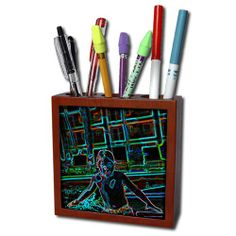 ph_59582_1 Jos Fauxtographee Realistic - A Little boy in his swimsuit ready to jump in a pool in glowing lines - Tile Pen Holders-5 inch tile pen holder 3dRose,http://www.amazon.com/dp/B008YL0KKW/ref=cm_sw_r_pi_dp_9zArtb1D301EKVNH