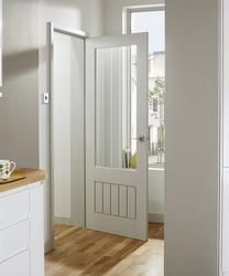 The minimalist look of this Shaker style Primed Dordogne glazed door can enhance many interiors. Primed and ready for painting, this door also comes with toughened glass. Internal Cottage Doors, Internal Glazed Doors, White Internal Doors, Double Doors, Loft Door, Primed Doors, Door Fittings, Kitchen Doors, Cottage Interiors