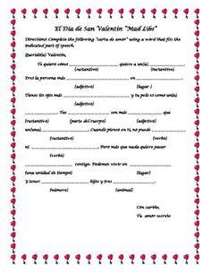 Valentine's Day Madlibs - El dia de San Valentin