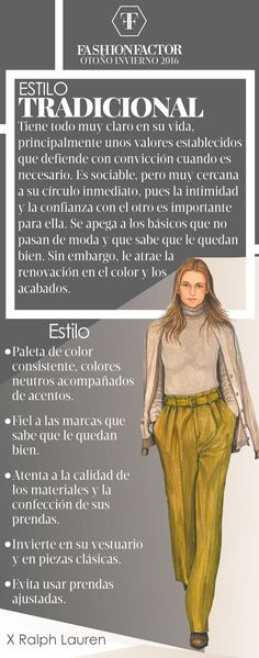La mujer Tradicional es de estilo conservador y familiar, se apega a los clásic. The Traditional woman is conservative and family style, it sticks to the classics. Learn how to wear this style in Fa Fashion Walk, Girl Fashion, Womens Fashion, Fashion Tips, Fashion Design, Fashion Quotes, Fashion Books, Fashion Vocabulary, Fashion Sketchbook