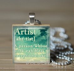 Artist Definition Square Wood Tile Pendant  by DBLDCreations, $7.00
