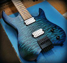 Kiesel Guitars Carvin Guitars V6 (Vader headless series) in deep aquaburst over…