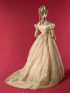 Ball Gown: 1866, French, iridescent gauze striped with silk satin. - ignore the 1870s hairstyle with this...