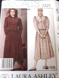 MCCALLS PATTERN 3325 LAURA ASHLEY LINED JACKET PLEATED SKIRT CASUAL FACTORY FOLD #McCall #CASUAL