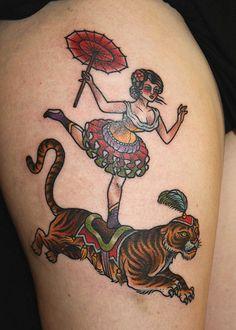 Awesome Tattoo Pics: circus lady tiger tattoo vintage retro old school Tiger Tattoo, See Tattoo, Tatoo Art, Tattoo You, Tattoo Time, Great Tattoos, Beautiful Tattoos, Body Art Tattoos, Tatoos