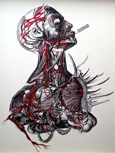 Smokey Treat original collage by Travis Bedel by Bedelgeuse. Surreal Collage, Collage Artwork, Collages, Anatomy Drawing, Anatomy Art, A Level Art Themes, Travis Bedel, A Level Art Sketchbook, Human Body Art