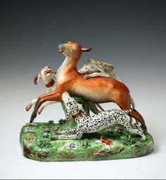 Deer hunted by three dogs Staffordshire pearlware pottery figure antique period early 19thc.