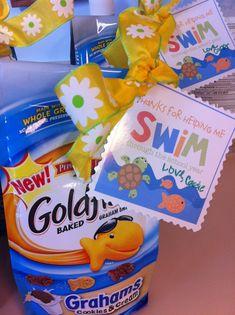 Thank you gifts Swim Teacher Gifts, Teacher Thank You, Thank You Gifts, School Gifts, School Parties, Student Gifts, Teacher Appreciation Week, Neighbor Gifts, Coach Gifts
