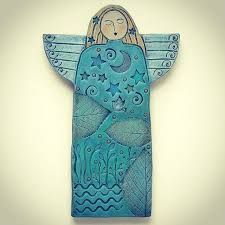 Here's another new Dreaming Angel. Each angel is a one of a kind. by Sue Davis Vachon Clay Art Projects, Ceramics Projects, Clay Crafts, Clay Christmas Decorations, Christmas Art, Clay Angel, Pottery Angels, Ceramic Angels, Ceramic Figures