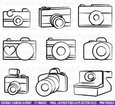 Camera Clipart Clip Art Photography Logo Elements by PinkPueblo, $8.00