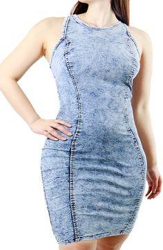Fandsway-PLUS SIZE Women's Fashion Simple Denim Body-con Dress (XXX-LARGE, DENIM)