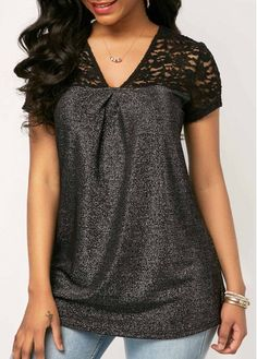 CLOTHING · Short Sleeve V Neck Lace Panel Blouse on sale only US 31.58 now 4f0866d94ff5
