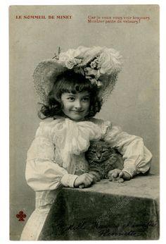 Vintage Cat Postcard Victorian Girl w Lace Bonnet Hugs Cute Cat   eBay