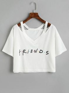 Simple Cheap Chic, Shop Summer Fashion Letter Print Hollow V Neck Short Sleeve Cropped Tee Top online. Cute Crop Tops, Cropped Tops, Crop Top Shirts, Cami Tops, Crop Tee, Cool T Shirts, Casual Outfits 2018, Teen Fashion Outfits, Girl Outfits