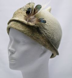 Felted hat with feathers and silk