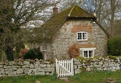"cottage dear cottage with sweet stone, gate and door. In this cottage I'd play the Beattles, ""When I'm Sixty Four""! Fairytale Cottage, Storybook Cottage, Garden Cottage, Stone Cottages, Cabins And Cottages, Stone Houses, Cute Cottage, Cottage Style, Cottage Living"