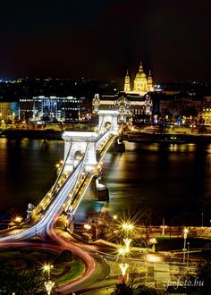 Chain Bridge and Basilica from the Castle on a cold winter night #Budapest