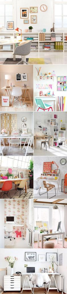 20 Simple and Stylish Home Office Designs- love these and all of the colours! *inspiration*