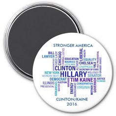 #CLINTON #KAINE #Election2016 Words #Political Round #Magnet on #Zazzle by #sandyspidergifts